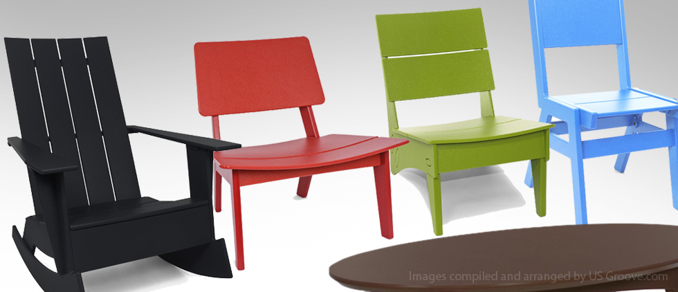 Loll designs modern recycled plastic outdoor furniture us groove products made in usa Furniture made from recycled plastic