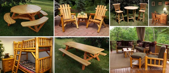 rustic log outdoor furniture